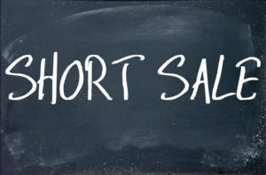 short sale text write on blackboard